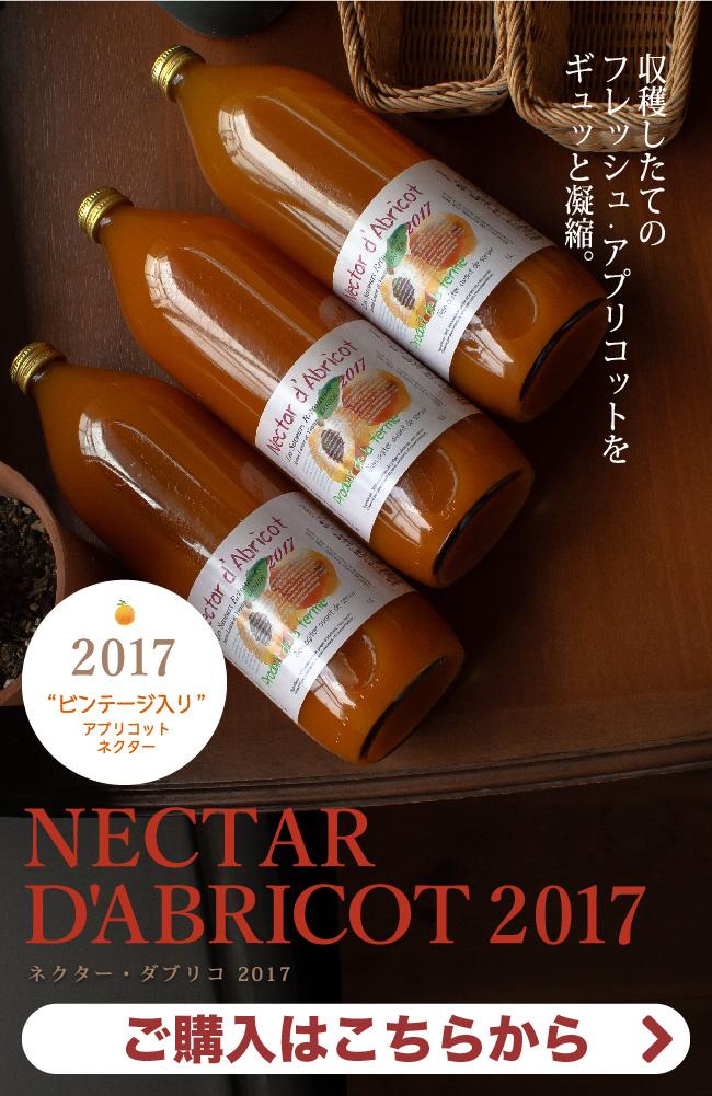 収穫したてのフレッシュ・アプリコットをギュッと凝縮。ヴィンテージ入りアプリコット・ネクター「ネクター・ダブリコ 2017」ご購入はこちらから。